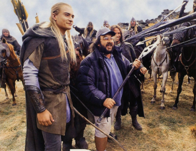 fuckyeahdirectors:  Peter Jackson with Orlando Bloom and Viggo Mortensen on the set of The Lord of the Rings.