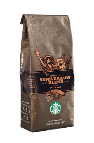 This beautiful logo and packaging for Starbuck's anniversary blend caught my eye in the drive thru this morning…