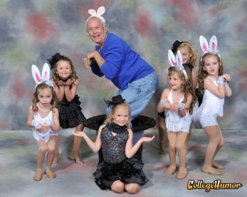 collegehumor:  Creepy Old Man in Bunny Ears None of the girls knew he was there. He just popped out of the hat.