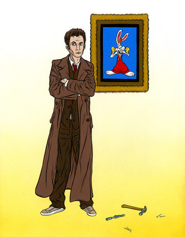 """Dr. Who Framed Roger Rabbit"" by Alex Pardee as part of The Butcher Kings show at Gallery1988"