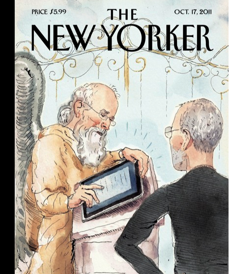 shortformblog:  newyorker:  The cover of next week's issue. Read our Steve Jobs coverage: http://nyr.kr/mPLCkE  Not bad. Think our favorite so far is Newsweek, though.