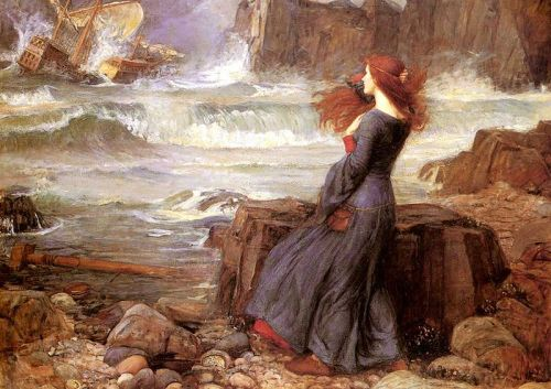 boxofoctaves:  Miranda, The Tempest — John William Waterhouse. 1916. Oil on canvas. Waterhouse finished this painting one year before his death. Miranda was a character in William Shakespeare's play The Tempest.