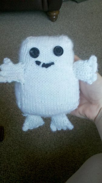I knit this a while ago. It's an adipose from Doctor Who. It's the first thing I ever knit other than a scarf, I was quite proud of myself. I've made more since, but I gave them all away to various chilluns. They're great if you're looking for a quick project.