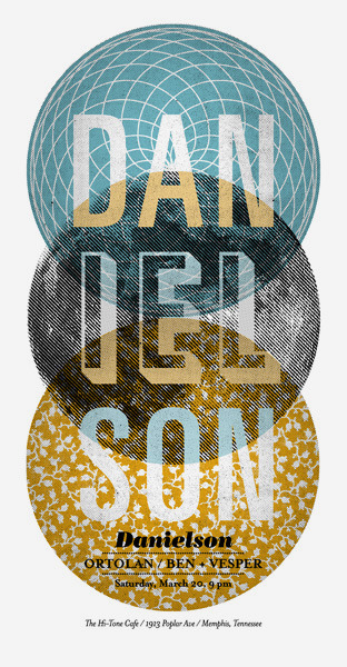 delfonk:  gig poster for a Danielson show at the Hi-Tone Café in Memphis. The three circles are a metaphor for the Trinity, a reference to the band's Christian messages. Also, the band's name can be divided into three groups of three. Coincidence? You decide. (via Jude Landry)