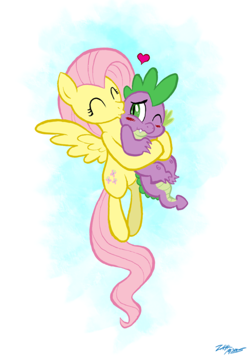 fishermanofponibooru:  Flutterspike  I'm not much one for Spike shipping, but ASDJLJFK CUTE.