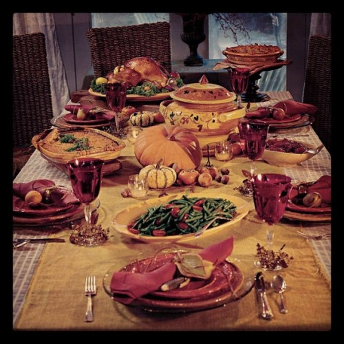 "A Social Thanksgiving  Thanksgiving is known as one of our most treasured holidays. Families gather together for meals, parades, parties, and much like the name suggests, to give thanks. How very social. With that said, here are some tips on how to make your Thanksgiving an even more social one: Facebook:  Well, if you're going to celebrate the holiday, you might as well like it and share with all of your friends. Can you believe it only has 7,378 fans?  Tumblr: You're reading our post about Thanksgiving on Tumblr so we'll let this one slide. However, you could reblog something from the ""Thanksgiving"" tag to get your Tumblr in the holiday spirit.  YouTube: Never cooked a turkey before? No problem! This is why we have YouTube - it's full of tutorials. Some are useful, some are awful… we take no responsibility for what's out there. Vimeo: You'll find other instructional videos here, like YouTube, but Vimeo's community is a little more creative in their presentation. Instagram: Search the #thanksgiving hashtag and prepare to get hungry. Food just looks better in a retro filter. Twitter: This is an easy one - live tweet your dinner! Use the hashtag #thanksgiving and populate your feed with musings on yams, Stove Top and that cranberry sauce with the tin-can lines. Foursquare: Actually, Foursquare is a great app to use if you're not having a big, traditional Thanksgiving meal. You can use it to search which restaurants nearby may have a Holiday Special and check-in to, in a sense, ""join"" other Foursquare users that day. Of course, at home you can just check-in to the kitchen, the dinner table or the couch just before you slip into your tryptophan nap. That should get you well on your way to having a great Thanksgiving, 2.0 style. Enjoy!"
