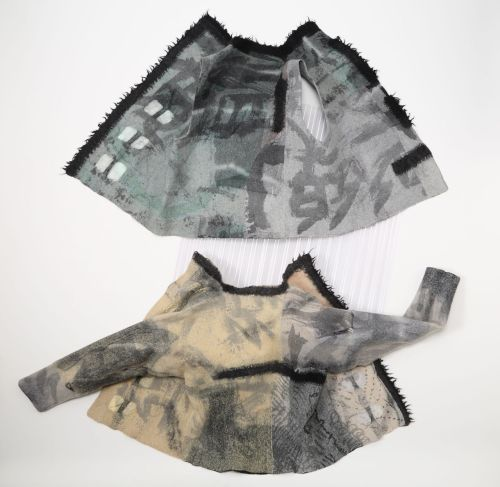 Jorie Johnson (Joi Rae): Sumi Silk Vest & Jacket 2009, wool, Sumi ink on silk fabric. Photo by Toyoda Yuzo.The Sumi ink painting on silk was a collaboration with Christine Flint Sato (Nara, Japan/UK) / Keiko Gallery - Japanese artists