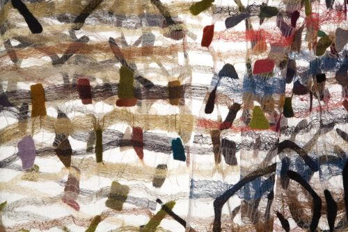 Jorie Johnson (Joi Rae): Confetti Shawls detail, 2008, hand-woven silk fabric, wool. Photo by Toyoda Yuzo. / Keiko Gallery - Japanese artists