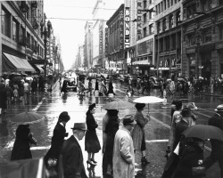 Crossing in Downtown Los Angeles. [circa] 1936/1958.