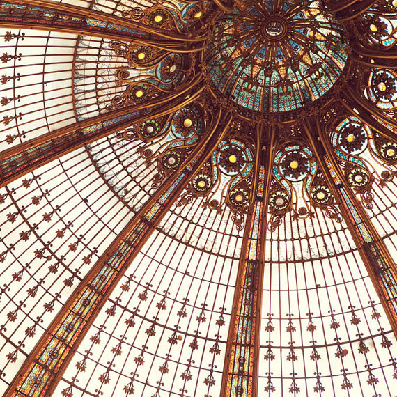 tudisrien:  The stunning Art Nouveau domed ceiling of the Galeries Lafayette department store in Paris by Irene Suchocki.
