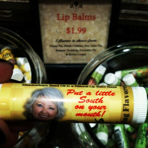 Paula Deen sells lip balm that tastes like butter. Sadly, they were sold out of voodoo dolls (Taken with instagram)