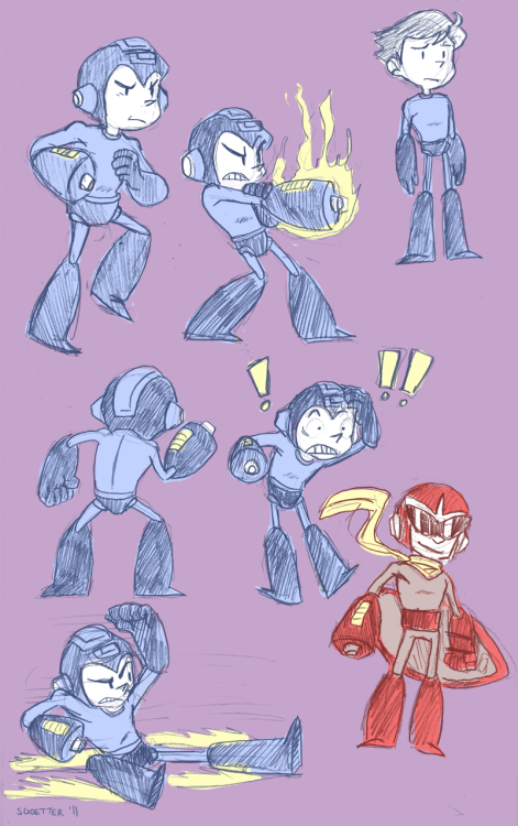 illasart:  A page of Megamans (and a Protoman), from my sketchbook.   Aw man these are so cool.
