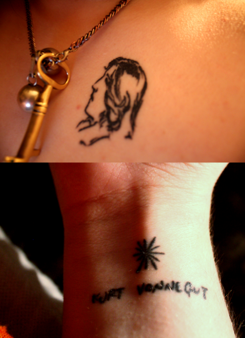 tattoolit:  Here are my (completely unrelated) literary tattoos. Oscar Wilde's head and Kurt Vonnegut's name + drawing of a sphincter.