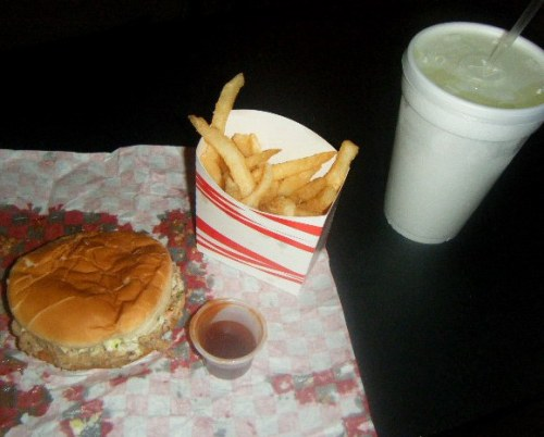 BBQ sandwich with extra Papa sauce with fries & a lemonade from Papa Bill's in Pembroke, NC :)