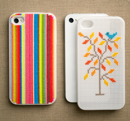 Cross-stitch iPhone case by Leese Design.
