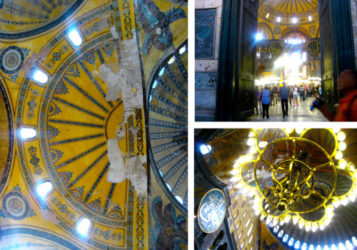 Inside the Hagia Sophia One of the coolest buildings I went to in Istanbul. It was once an Orthodox Cathedral, Basilica, and a Mosque. Walking around, you can really see each transformation the building had gone through. From fresh Muslim script hanging off balconies to Christian mosaics of icons peeling off walls, it was unbelievable seeing it all under one beautiful roof.  It was a different world, like  2 of the most popular religions and cultures living harmoniously together, rather than clashing against each other. I wish I could post up all of the photos of the artwork on here, maybe I'll do another post with more pictures.