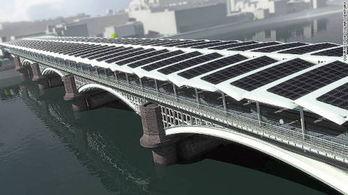 "climateadaptation:  World's largest solar bridge project gets underway. Blackfriars bridge was built in 1886 and spans the Thames in London. ""Work on the world's largest solar bridge has started in central London.  The new solar roof spanning Blackfriars Railway Bridge above the River Thames will cover more than 6,000 square meters when finished, according to developers.  Over 4,400 individual photovoltaic panels are expected to produce around 900,000 kilowatt hours of electricity every year, providing the station with half of its energy needs, according to Solar Century, the UK company installing the solar roof."" CNN"