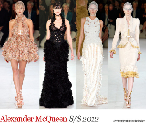 It's safe to start my S/S 2012 reviews with an awaited collection from Alexander McQueen. The late designer was known for his eccentricity that challenged conservative minds. That's what's good about a McQueen collection; you're amazed during the show and you're left wondering about each piece. Sarah Burton took over and did a revamp of the designer house based from her area of expertise, womenswear, which greatly translates in recent McQueen collections. Just like last year's show, the pieces are more wearable than during McQueen's reign. This time, the colors are muted and the silhouettes aren't as fun. It was the revenge of the ruffles, which was really feminine and strong at the same time. Nevertheless, Alexander McQueen as a brand really knows how to put on a good show. (c) Fashion Firewoman