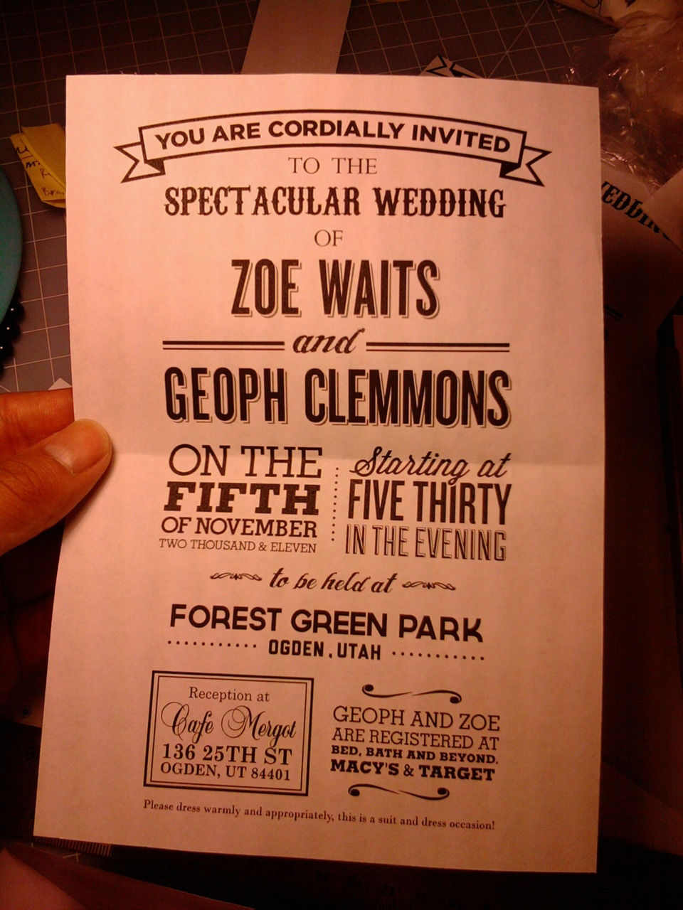 thelittleplanet:  The backside of my friend's wedding invitation.