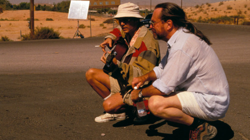 Johnny Depp and Terry Gilliam filming Fear and Loathing in Las Vegas