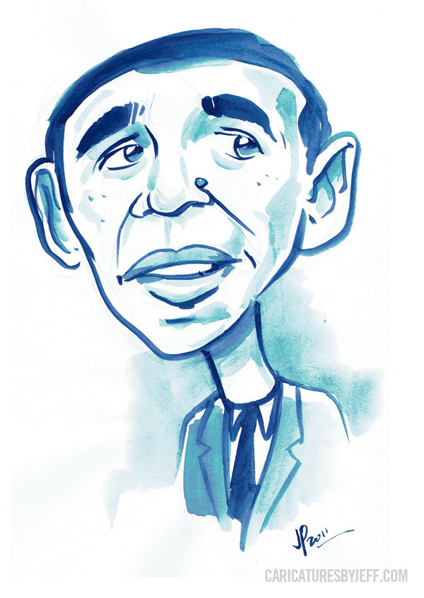 Obama sketch I did during his Jobs act speech recently