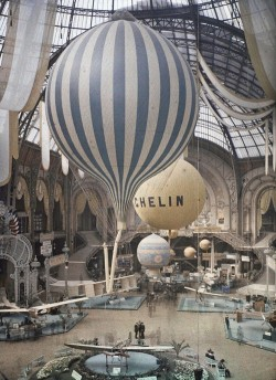 The first air show at the Grand Palais in Paris, France. September 30th, 1909. Photographed in Autochrome Lumière by Léon Gimpel. (via)
