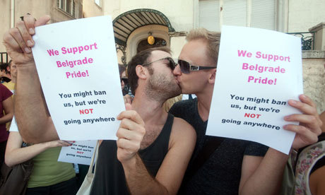 mivoltmaaneten:  Protesters oppose the cancellation of a gay pride march at the Serbian embassy in Budapest, Hungary.    Serbia has bowed to homophobia