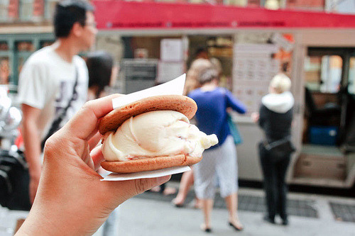 ffoodd:  Balsamic fig ice cream w/ ginger cookie (by ardenstreet)