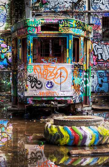 marcelodimitrius:  cool !!!!Tram - in colorful a tyre by © Clyde Essex