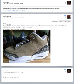 Nike Air Jordan III Khaki and Denim samplesrealized I could just take a screen shot of the conversation.