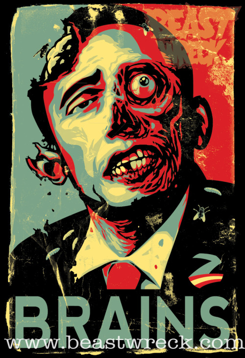 justinrampage:  Zombama has risen from the dead and seeks his revenge thanks to BeastPop Artworks. Shirts are now on sale at his undead online store. Related Rampages: Slave I Racer | Pakku-Man (More) Zombama's Revenge by BeastPop (Tumblr) (Facebook) (Twitter) Via: beastpop