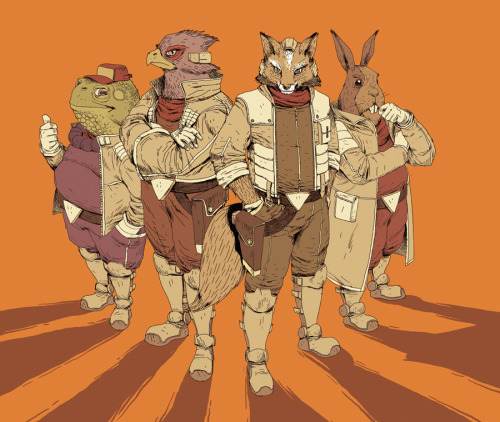 "justinrampage:  The Star Fox team is ready to take to the skies in deviantARTist Great-OHARU's new fan art illustration. Digging the unique style. ""Do a barrel roll!"" Related Rampage: I am the Eggman Star Fox Team, GO by Great-OHARU"