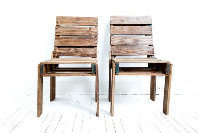 Hmmm, chairs made from crates, or pallets? (Or both?!) (Chairs pictured made by roughsouthhome on Etsy)