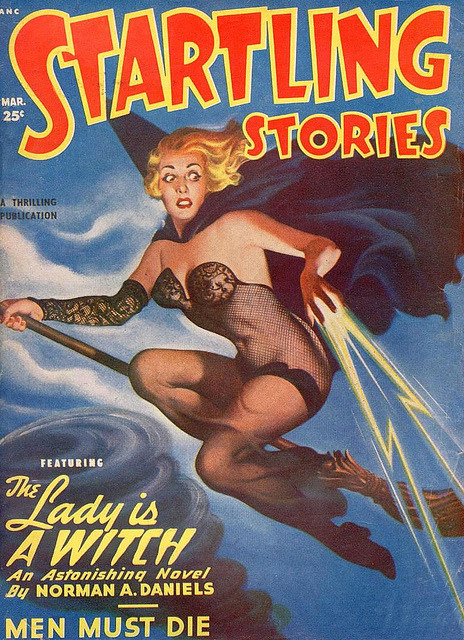 frankenbarbie:  Halloween witch STARTLING STORIES 1950 by judibird on Flickr.