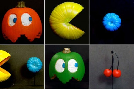 holidayhaussmannization:  Pac-Man Painted Pumpkins  The perfect pumpkins for any arcade nerd. DIY  For more holiday crafts follow: holidayhaussmannization  If I ever did Halloween, this would be what I would do.