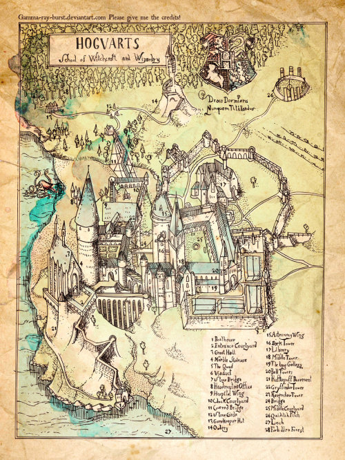 fuckyeahfictionalmaps:  Hogwarts School of Witchcraft and Wizardry, by gamma-ray-burst