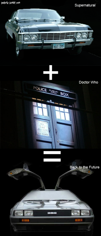 rolypolycastiel:  potterly:  If the TARDIS (Doctor Who) and the Impala (Supernatural) had a baby, it would be the Back to the Future Car.  What  That is actually a Delorean dmc-12 ( Not to be a douche).But I love this anyway TT v TT It seems so true.