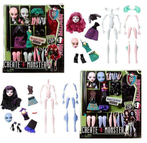 "[Two ""Create a monster"" boxes, each containing a doll body, two heads, an assortment of arms and legs, and two fashions. The first box is for a werewolf or a dragon, the second a vampire or a sea monster.] Promo pic for the upcoming Create A Monster set! For those of us who want a unique doll but don't have the time or skills for customisation. So cool!"