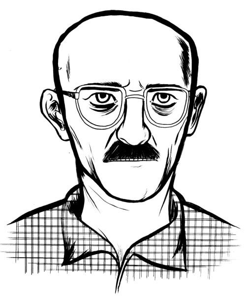 Walter White, from photo reference. Breaking Bad is probably one of the best shows I've ever seen, right up there with Oz.  Also, everything that could have gone wrong technically with Bitter Liquid has. My hard drive was wiped out by some Akira volume three level virus, so I've been playing musical chairs with computers to get the production done. Scanned all 108 pages today, and I'm going to go change the contrast levels and letter the thing before I go to sleep.  You don't know pain until you've had to scan 108 pages in one sitting.