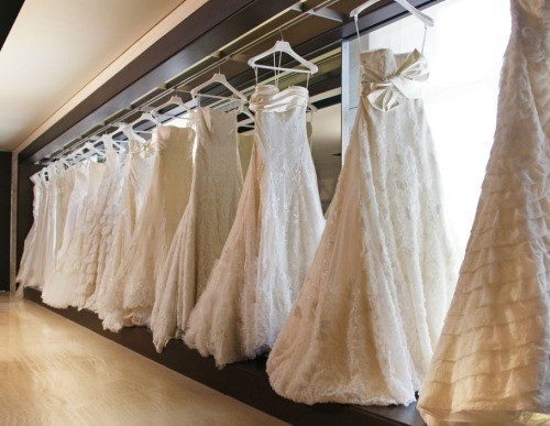 An array of wedding dresses in the bridal fitting rooms at [Elie Saab's] Beirut boutique. — Saab Story, Vanity Fair