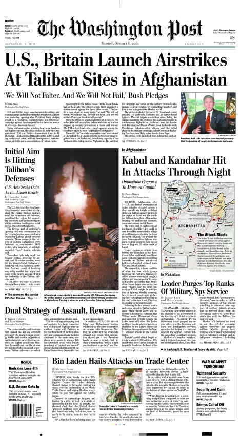thepoliticalnotebook:  US newspaper headlines from October 8, 2001. The day after the US announced the war in Afghanistan. [source]