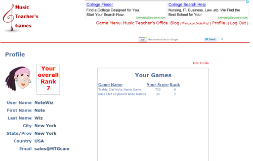New! Profiles and Ranking! At Music Teacher's Games. We have just added some new features to Music Teachers Games that we hope will make the games more entertaining. -Profiles -Avatars -Rankings After you have registered you will be able to modify your profile, and choose an avatar. We have also included a ranking system that will  let you see how you are doing compared to other players on the site.  Both, an overall ranking and a ranking for each individual game.  Individual games are ranked by highest score. Overall ranking is  calculated by multiplying the number of games you have attempted by the  sum of the top scores for each game you have played. You will also be able to tell us if you want to be updated or not of changes to the game and site or our sponsors. We have more features coming out all the time so come back often or better yet sign up to receive our updates and news letter.