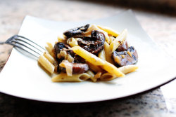 Pasta with Whiskey,Wine, and Mushrooms Recipe