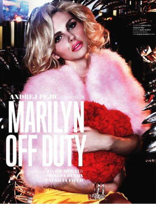 paperomance:  Andrej Pejic - Lovecat Fall 2011. Andrej Pejic attempts to portray the iconic, Marilyn Monroe, in this editorial for the Fall 2011 issue of Lovecat, photographed by Jacob Dekat and Prince Chenoa. Andrej continues to fascinate me with his androgynous appearance, but using him to portray Marilyn is one step too far for me. It doesn't really work but I just can't help but love it because it's Andrej. © Lovecat