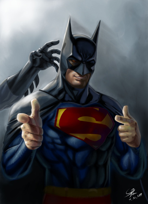 "ealperin:  tinybats3:  svalts:  Superman's Profile Picture - by Agustinus Kwa Hong Ye Artist's note: ""Give them back to me, Supes…"" (Batman ruined SUPERMAN's PP) (Via: herochan)  YES.  Lol. everyone wants to be Batman XD"