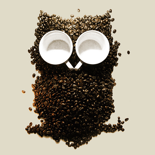 executions:  Night Owl - Shirt design made from real coffee beans and coffee cups! by Marco Angeles