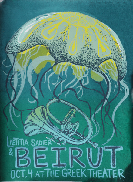 Here's the final Beirut poster for LA's Greek Theater show.  The last poster was a cleaner image, and I wanted to play with a painterly look on this one.  They all sold out at the venue, so I'm glad the audience liked it enough to make that happen.