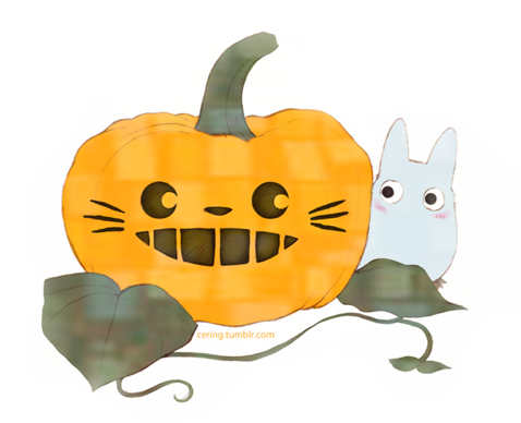 Totoro Halloween art by Cering  via houseofghibli