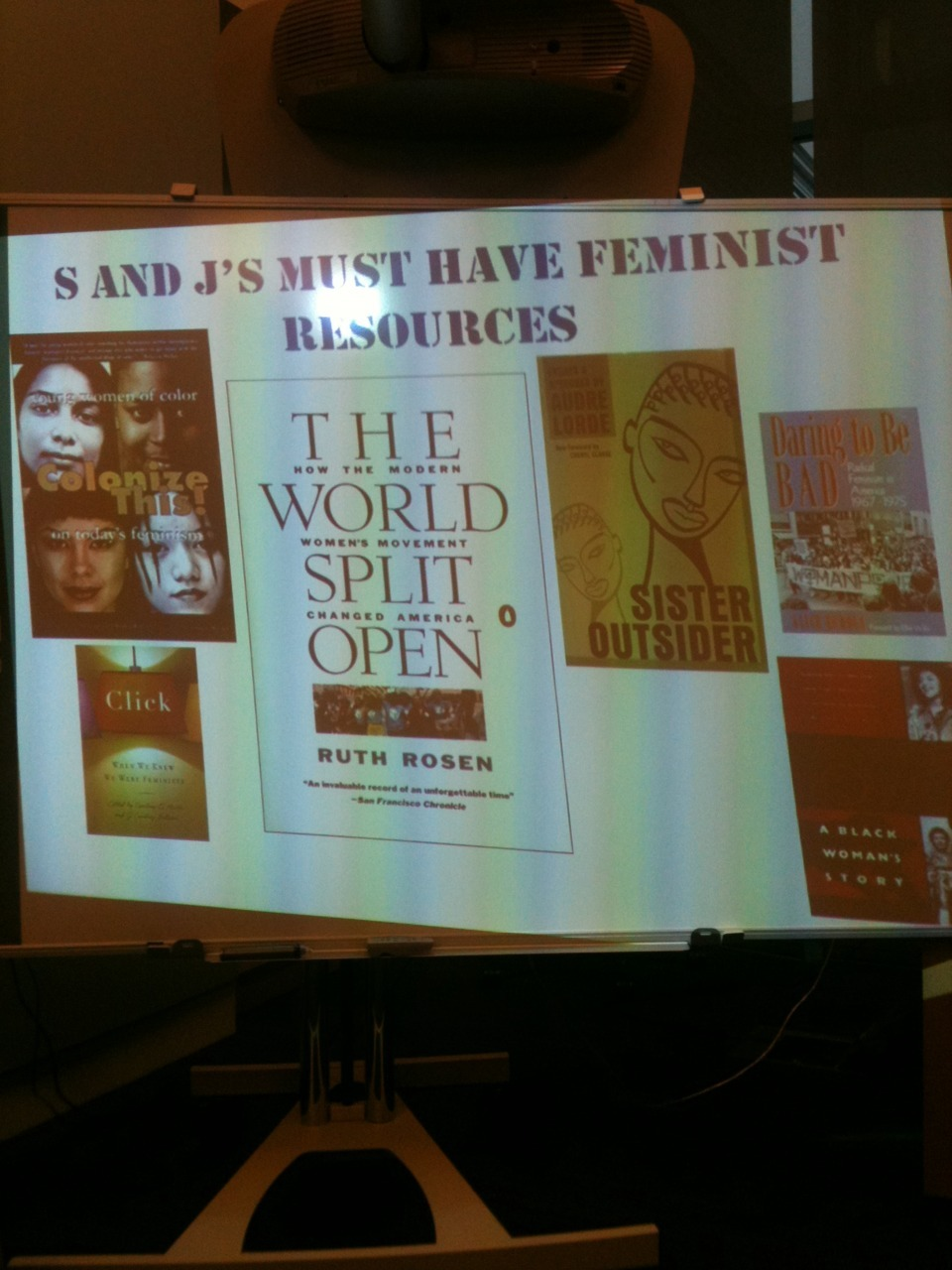 SHELBY KNOX & JAMIA WILSON'S MUST-READ FEMINIST TEXTS: Sister Outsider by Audre Lorde Daring to be Bad by Alice Echols Click by J. Courtney Sullivan and Courtney E. Martin A Taste of Power: A Black Woman's Story by Elaine Brown The World Split Open by Ruth Rosen Colonize This! by Daisy Hernandez