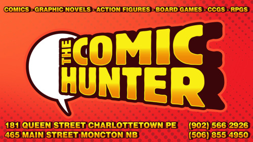 design for the comic hunter beginning to dislike the shape of the logo, the fact that it flares at the top and bottom makes it hard to incorporate into a design i think i will make a couple of variants for different page positions color experiment: i replaced all the black in this image with purple to make the yellow lettering pop  i feel like this is mostly a success agree or disagree???